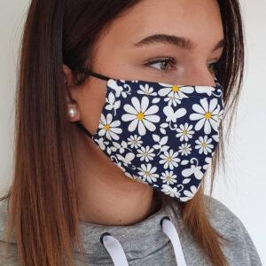 mondkapje bloemen design blauw